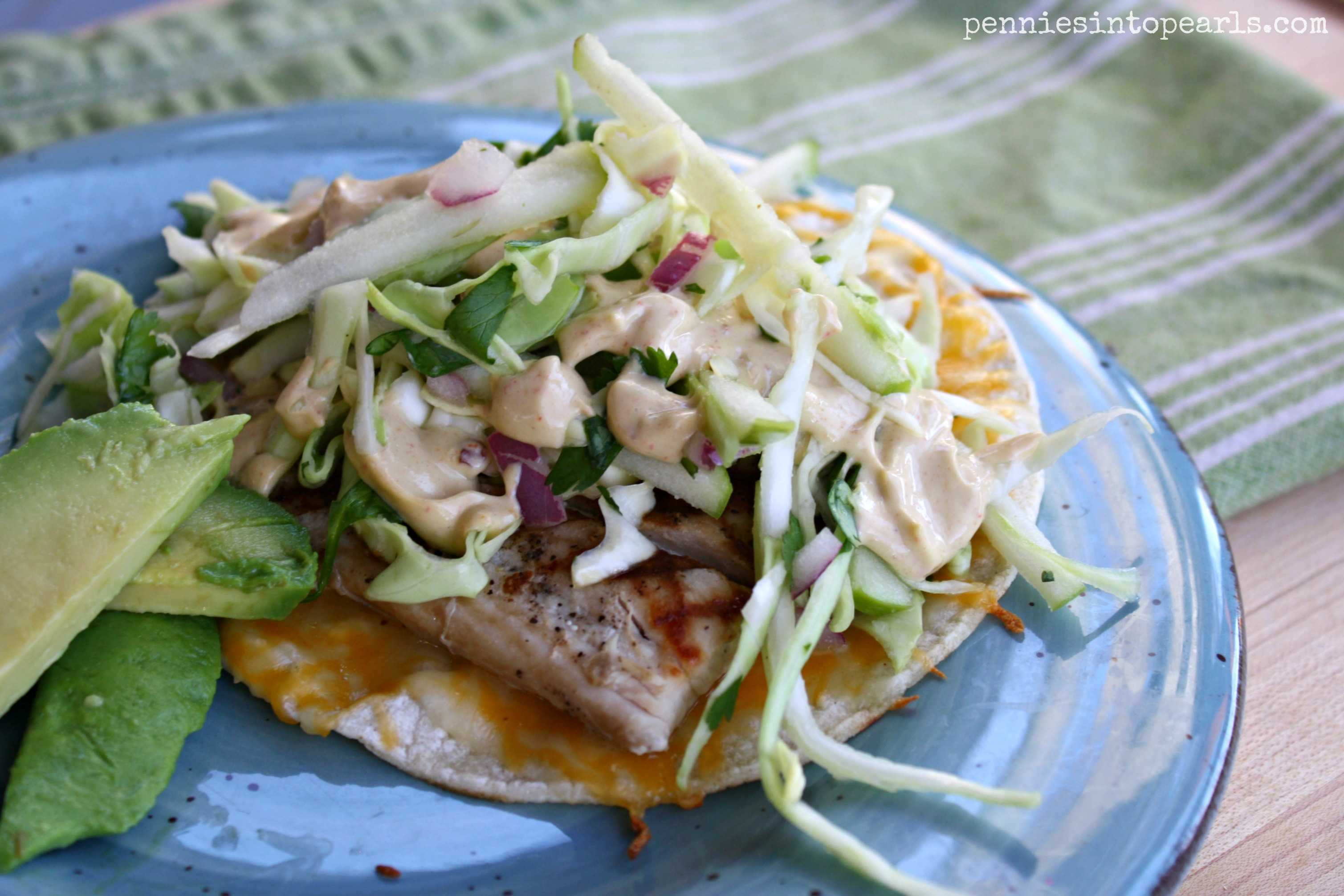 Fish tacos with apple coleslaw and a chipotle yogurt sauce for Coleslaw for fish tacos