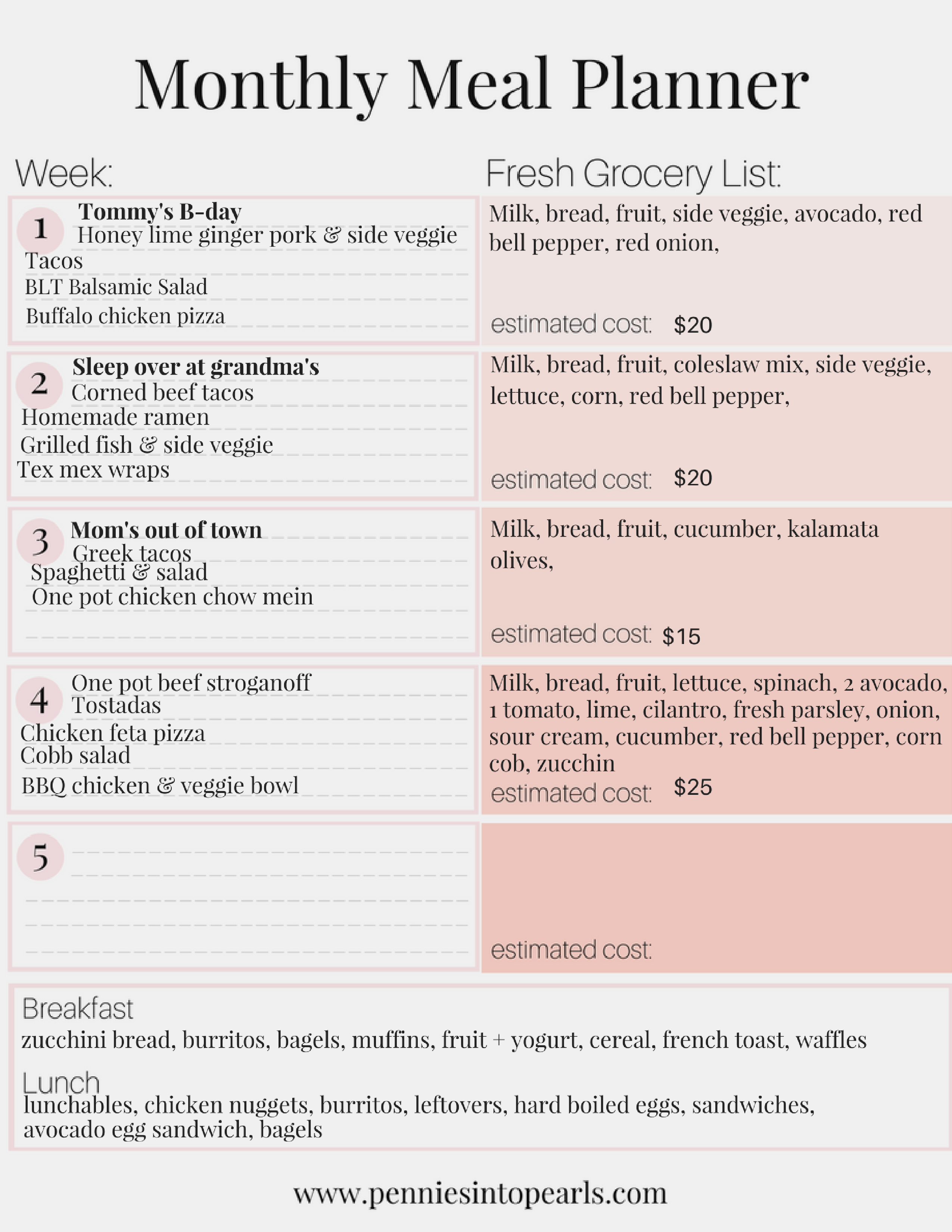 $300 Monthly Meal Plan on a Bud FREE PRINTABLE